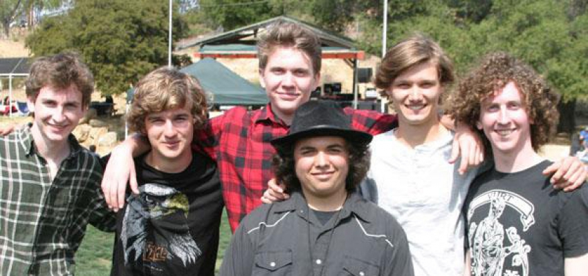 Topanga's own homegrown rock band, Forty Feet Tall are, from left, Charlie Sehres, (keyboards), Guy Moore (bass), Will Henley-Dias (drums, rear) Steven Driscoll, (drums, front in the hat), Cole Gann (guitar and vocals) and Jack Sehres (guitar).