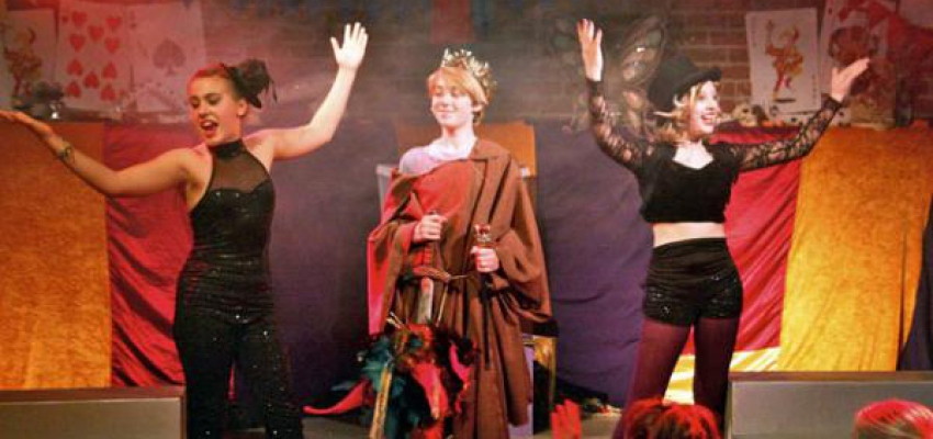 Pippin (Dylan Williams) now king smugly stands with the Leading Players: Lily Bleu Andrew (L) and Gabbi Beauvais (R).